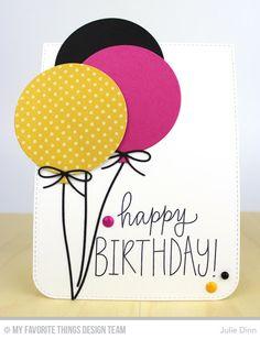 card balloons balloon MFT Blueprints 26 Die-namics, Birthday Wishes & Balloons, Blueprints 26 Die-namics - Julie Dinn Creative Birthday Cards, Homemade Birthday Cards, Birthday Wishes Cards, Birthday Cards For Friends, Bday Cards, Diy Birthday, Creative Cards, Homemade Cards, Birthday Card Drawing
