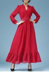 Elegant V-Neck Ruffle Design Long Sleeve Maxi Dress For Women