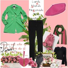 """""""Winter Stroll in Paris"""" from Polyvore (green coat, pink beret)"""