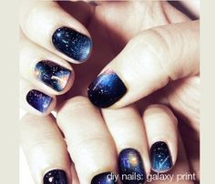 """Galaxy nail art.  Like how this isn't so overwhelmed with the color like some of the other versions are.  The """"Nebulas"""" are more accents then base."""