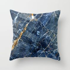 Blue Marble Throw Pillow by Patterns And Textures | Society6