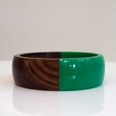 Wood and Resin Bracelet Green