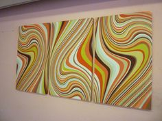 Orange Lime Green Large Fabric Wall Art Funky Retro Designer cotton canvas-weight Tryptich Picture Hanging. $70.00, via Etsy.