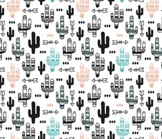 Fun aqua and coral pink cactus garden indian summer arrows geometric illustration pattern kids print fabric by littlesmilemakers on Spoonflower - custom fabric