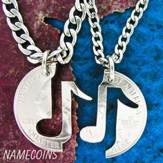 Music Jewelry, Couples necklaces, You Make My Heart Sing relationship set, Hand Cut Quarter on Etsy, $29.99