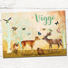 Geboortekaartje op maat Viggo met dieren in het bos - aangepast geboortekaartje Anna uit vast aanbod   illustratie   babykaartjes   design   indie   dieren   vos   hert   beer