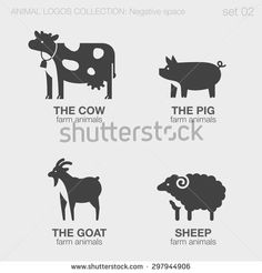 Farm Animals Logos negative space style design vector templates. Cow, pig, goat, sheep silhouettes logotype concept icons set. - stock vector