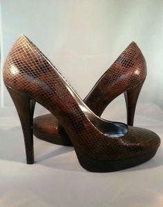 Calvin Klein Sydney Brown Embossed Platform Pump Heels size 8M #CalvinKlein #PumpsClassics