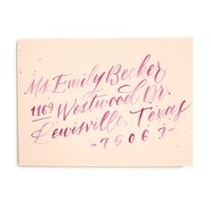 Watercolor style calligraphy for wedding invitations - envelope by Ashley Buzzy Lettering and Press