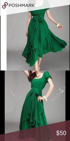 Women's assymetrical overlay chiffon dress Gorgeous dress. Rich green color. Chiffon with layering look. You can tie it at waist or leave it loose for a more casual look. Sleeveless. Sits at mid calf. Dresses Asymmetrical