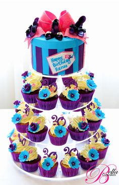 Vintage Teal & Purple Hat Box High Heeled Woman's 30th Birthday Cupcake Tower