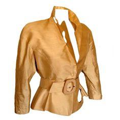 Thierry Mugler Paris Sculptural Gold Doupioni Silk Jacket + Belt Set Size 40 198 1