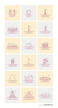This set contains 18 beautifully crafted pixel perfect World landmark icons.All the icons are available in multiple formats PSD, AI, EPS, PNG, PDF. Icon Set, Shop Icon, Ui Ux Design, Icon Design, Logo Design, Flat Design, Stylo Art, City Icon, Weather Icons