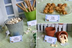 """Great themed snacks included in this post: bones, """"rawhide"""" chews (chips), tug toys (soft pretzels), mini corn dogs and more!"""