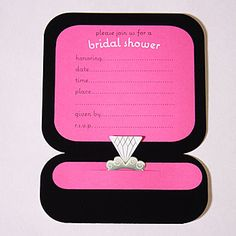 Our Ring Box Invitations feature a pink, black and white ring box with a diamond ring. Sold in packages of 8 with matcing envelopes.