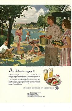 033. Week-End at the Lake by Douglass Crockwell, 1949. Vintage beer ad.