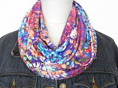 Floral Infinity Scarf Abstract Purple Turquoise Blue Red Orange Green - Circle Scarf - Back To School by ModaBellaScarves on Etsy