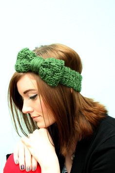 Dark green crocheted head band with bow faux basket by SadieWade, $12.00