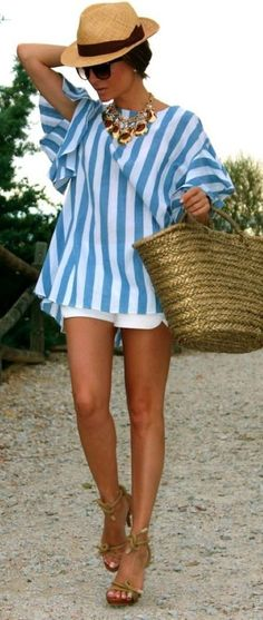 stylish summer outfit idea: hat + top + bag + shorts