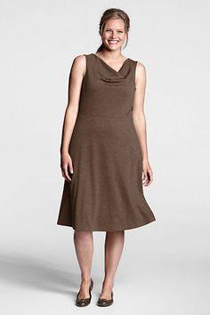 Women's Plus Size Sleeveless Ponté Drapeneck Dress from Lands' End $20 marked down