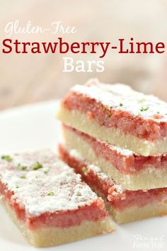These gluten-free strawberry-lime bars are summer dessert perfection!