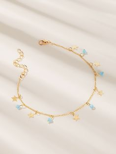 Bead & Star Charm Chain Anklet 1pc | ROMWE
