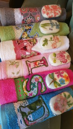 Matching decoupage soaps and towels