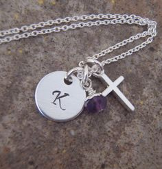 "Dainty Initial and cross necklace - 3/8"" initial charm and dainty cross necklace with genuine birthstone dangle- STERLING SILVER. $30.00, via Etsy."