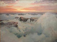 "Philip Shumaker (1921-1967, Pennsylvania) Stormy Sea at Sunset  Oil on canvas  48 x 64"""