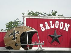 Look close it is an old #VW bug #upcycled into a #Saints helment