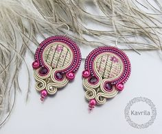 K Avril - Jewellery author. soutache. Ruby Autumn Earrings