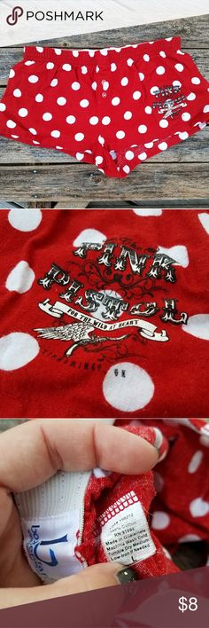 Pink Pistol Polka Dot Pajama Shorts Size Large Gently used red polka dot pajama boxer shorts from Miranda Lambert's Pink Pistol boutique in Tishomingo Oklahoma (now closed). 100% cotton flannel. No stains. The tag looks quite tattered but only worn a handful of times. Non-smoking home. False fly with button detailing. Pink Pistol Intimates & Sleepwear Pajamas