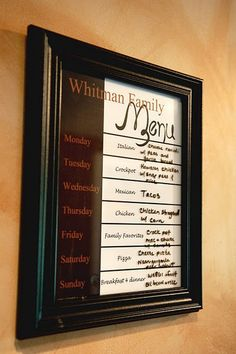 I designed this Family Menu for our house a year ago and it's so much fun.  I designed it in Photoshop and then printed it and put it in a frame so I can use a dry erase marker to change it out each week. my-own-crafts-and-home-decorating