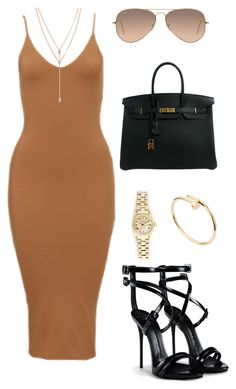 """""""#mustard"""" by styledbymc ❤ liked on Polyvore featuring Rolex, Vince Camuto, Cartier, Ray-Ban, Hermès and Giuseppe Zanotti"""