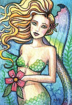 Art '' - by Molly Harrison from Mermaid Artwork, Mermaid Drawings, Art Drawings, Mermaid Paintings, Mermaid Images, Mermaid Pictures, Fantasy Mermaids, Mermaids And Mermen, Real Mermaids