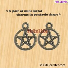 A pair of metal charms with brown color Pentacle shape (bc11) ❤️❤️ Lovely tiny light charm. This can be attached to Purse, Backpack as Zipper pull or USB drive, Mobile phone as charms. ❤️❤️ --- #charm #backpack #purse #accessories #metal #pentacle #earring