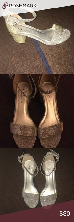 Like New Chinese Laundry sparkly heels Size 6.5 open toe ankle strap with approx 2 inch heels. Very easy to wear and beautiful on. Only worn once. Chinese Laundry Shoes Heels