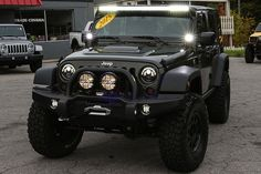 "Custom 2015 Jeep Wrangler Rubicon Unlimited Tank HEMI Conversion - Rigid Industries 50"" LED Light Bar and D2 Pods"