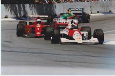 Australian Grand Prix 1990 Gerhard Berger-Honda Marlboro McLaren (No. 28) Alain Prost-Scuderia Ferrari (No. 1) Nelson Piquet-Benetton