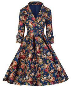 Vintage Style Shawl Collar 3/4 Sleeve Flower Pattern Dress For Women