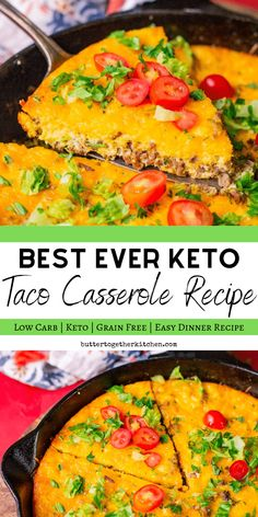 Best Keto Taco Casserole Recipe - This taco casserole is a quick and easy family dinner that is incredibly satisfying! #ketotacocasserole #ketotacopie #ketocasserole #tacocasserole #tacopie | buttertogetherkitchen.com Ketogenic Recipes, Low Carb Recipes, Diet Recipes, Healthy Recipes, Ketogenic Diet, Chicken Recipes, Keto Chicken, Health Casserole Recipes, Vegetarian Recipes