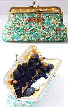 Adorable essential oil carrying case!! Holds up to 12 bottles. I like that it is a bit taller than some, so you can fit roller bottles, regular 15ml bottles, and 15ml bottle with a spray top! 4 fabric choices, too! click image to check them out