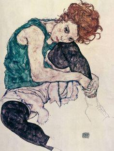 Egon Schiele -  Donna Seduta, 1917