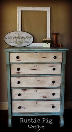 Empire Dresser Makeover painted in Annie Sloan duck egg blue and old white