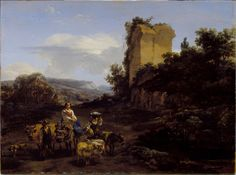 Nicolas Berchem - Landscape with Ruins and Travelers, 1654