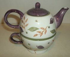 Stacking Teapot And Cup Leaf Design Purple And White With Green And Gold EUC