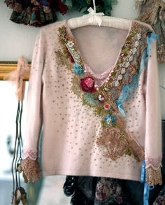 romantic+delicate+angora+top+hand+embroidered+and+by+FleurBonheur,+$238.00