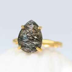 Black Tourmalated Quartz Ring Gold Tourmalinated Quartz Ring