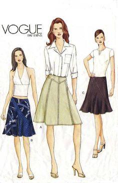 UNCUT VOGUE SKIRT Sewing Pattern Easy to Sew  by KeepsakesStudio