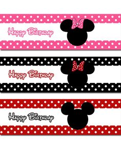 INSTANT DOWNLOAD - DIY Mickey and Minnie Mouse Water Bottle Labels Fiesta Mickey Mouse, Mickey Mouse Bday, Mickey Party, Mickey Mouse Clubhouse, Mickey Minnie Mouse, Minnie Mouse Cake Pops, Minnie Mouse Birthday Decorations, Mini Mouse 1st Birthday, Minnie Birthday